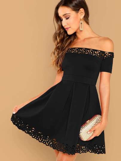Scalloped Laser Cut Off Shoulder Boxy Pleated Dress