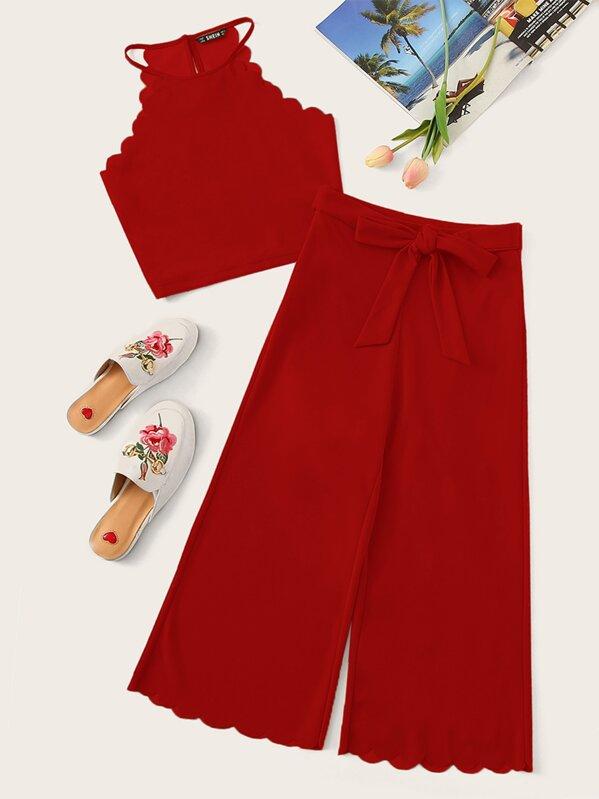 3d466de8398b75 Scalloped Trim Crop Halter Top & Knot Front Culotte Pants Set | SHEIN IN