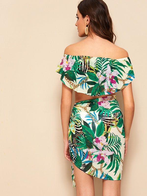 5f9c175713 Off Shoulder Foldover Tropical Top & Tie Skirt Set | SHEIN IN
