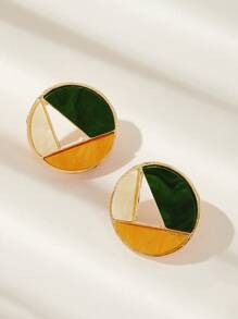 Color-block Round Stud Earrings 1pair
