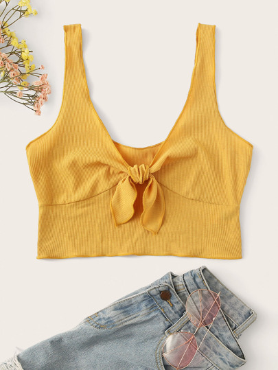 Plus Crop Rib-knit Tie Front Tank Top