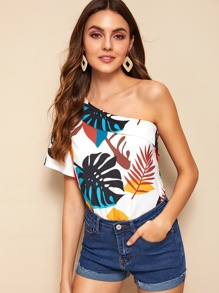 Tropical Print One Shoulder Blouse