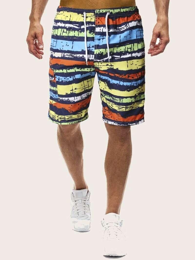 a0a688b9bfd481 Männer Bermuda Shorts mit Muster und Kordelzug um die Taille