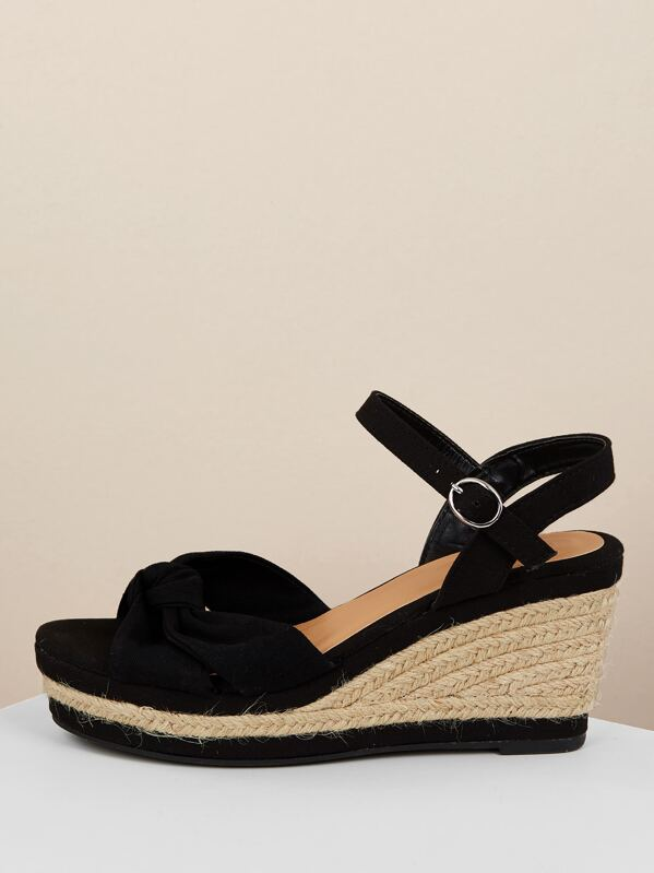 527304cf121 Knot Front Jute Trim Platform Wedge Sandals