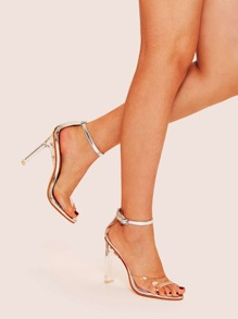 Transparent Ankle Strap Heels