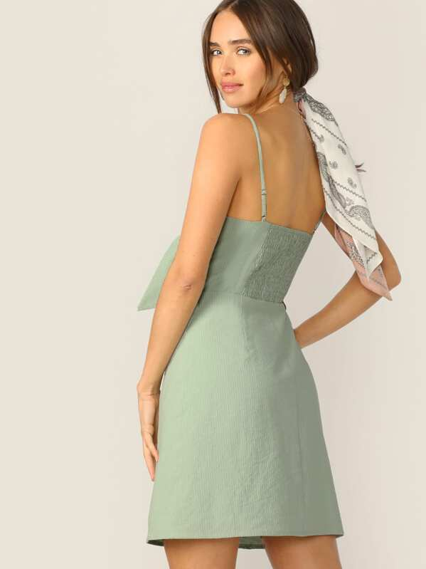 e52deb96d7 Knot Front Peekaboo Shirred Back Cami Dress | SHEIN