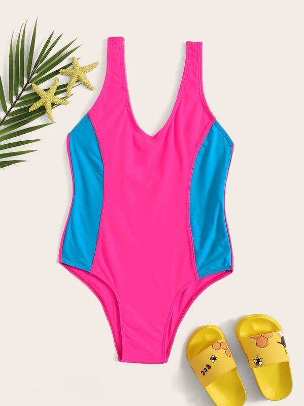 c9abbe3da53 Girls Neon Hot Pink Two Tone One Piece Swim | SHEIN
