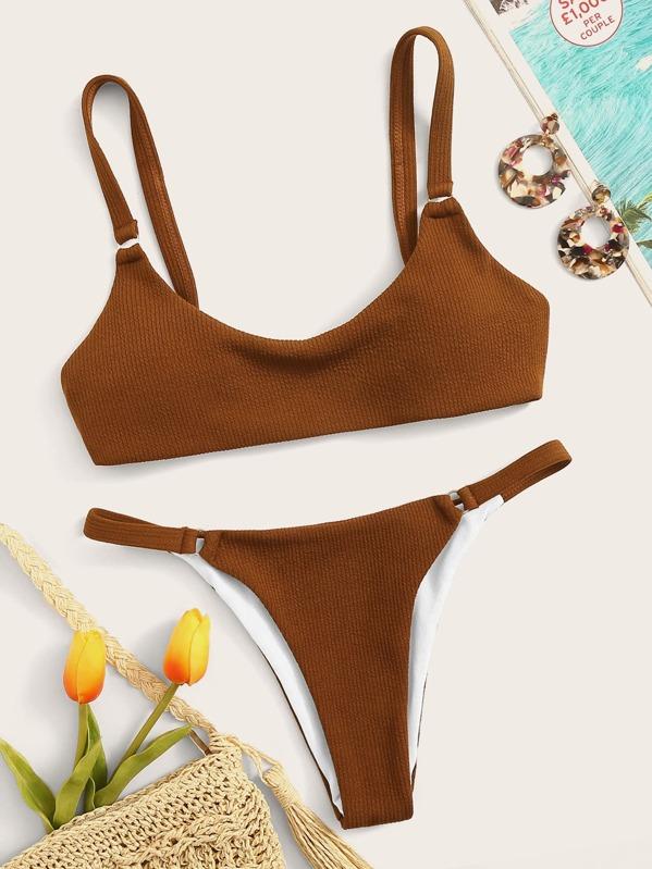 b438c4caf697 Textured Scoop Neck Top With Tanga Bikini Set | SHEIN UK