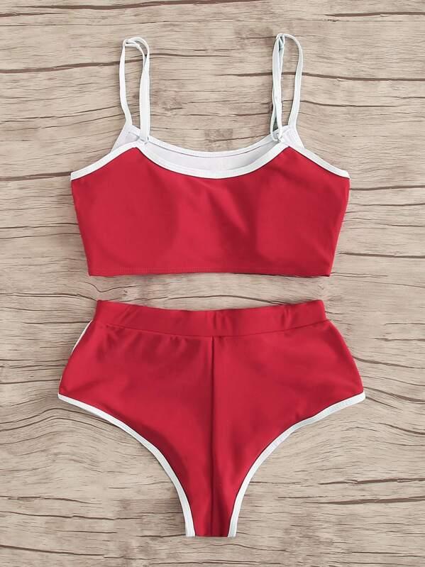 3afb351348 Contrast Trim Top With Drawstring Panty Bikini Set | SHEIN UK