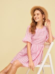 Plaid Print Flounce Sleeve Dress