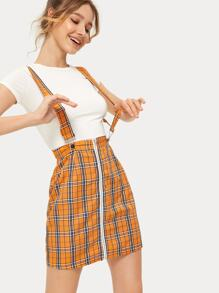 Plaid Print Zip Through Skirt