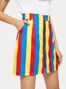 Striped Zip Through Skirt