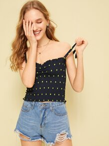 Shirred Polka Dot Print Cami Top