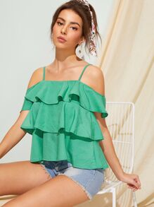 Tiered Layer Solid Cami Blouse