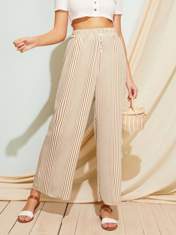 437f2fb9c6 Elastic Waist Striped Wide Leg Pants | SHEIN