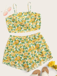 Plus Sunflower Print Tie Back Crop Cami Top & Shorts