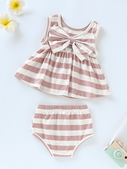 afc46aa7d912f Baby Big Bow Striped Peplum Tank Top With Shorts