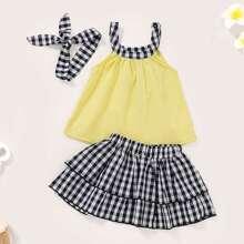 Baby Contrast Halter Top & Tiered Layer Gingham Skirt & Headband
