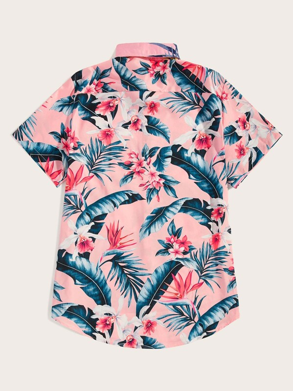 b0daa3322 Men Tropical & Floral Print Hawaiian Shirt   SHEIN