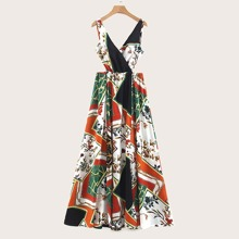Scarf Print Crossover Split Maxi Dress