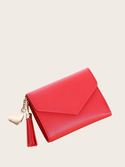 Tassel Decor Fold Over Wallet