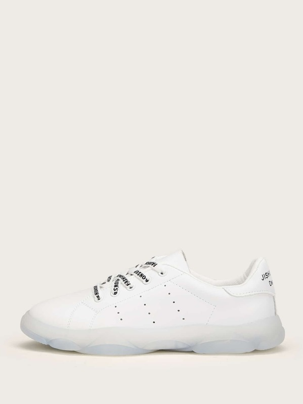 75739b63a1 Scoop Cut Perforated Detail Trainers | SHEIN