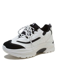 Two Tone Lace-up Front Chunky Sole Trainers