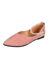 Point Toe Faux Pearl Ankle Strap Flats