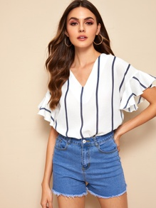 V-neck Striped Flounce Sleeve Blouse