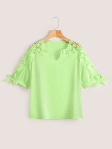 Plus Guipure Lace Knot Cuff Neon Lime Blouse