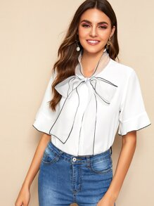 Binding Trim Tie Neck Blouse