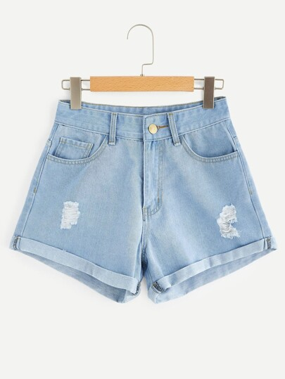Plus Rolled Trim Ripped Denim Shorts
