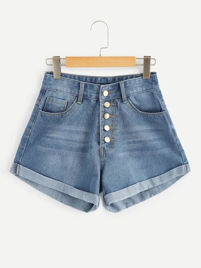 Plus Rolled Trim Washed Denim Shorts