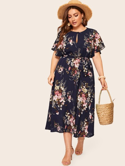 3454f7712a Plus Keyhole Front Floral Print Belted Dress
