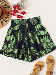 Plus Leaf Print Ruffle Hem Shirred Shorts
