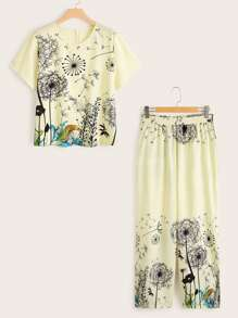 Plus Dandelion Print Tee With Pants