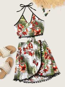 Plus Floral Print Pom Pom Halter Top With Skirt