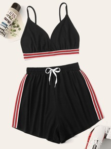 Plus Contrast Striped Cami Top With Knot Shorts