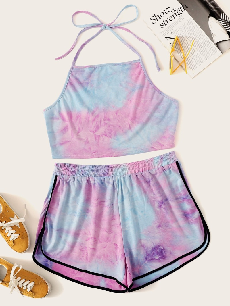Plus Tie Dye Halter Top With Contrast Piping Dolphin Shorts by Romwe