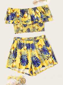 Plus Lemon Print Shirred Top With Shorts