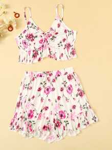 Plus Floral Print Ruffle Hem Knot Cami Top With Shorts