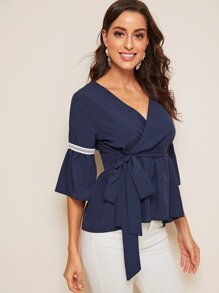 Contrast Lace Flounce Sleeve Wrap Knot-side Blouse