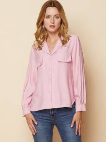 High Low Notched Collar Trim Button Front Blouse