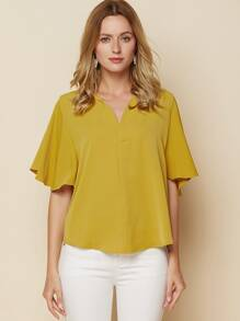 Butterfly Sleeve V Neck Blouse