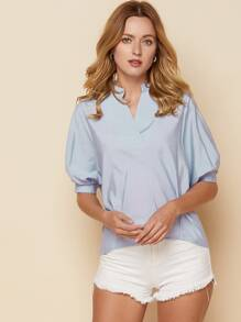 Bishop Sleeve Trim Button Back Blouse