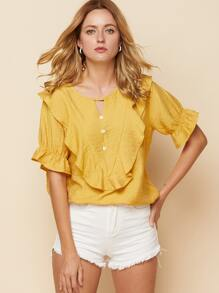 Ruffle Trim Button Front Elastic Sleeve Blouse