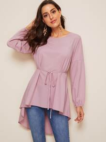 High Low Bishop Sleeve Drop Shoulder Belted Blouse