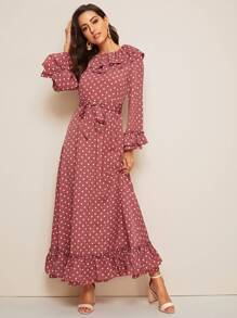 Polka Dot Print Ruffle Trim Belted Maxi Dress