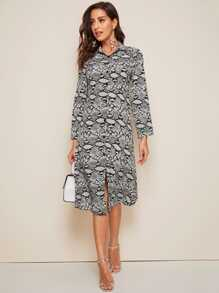 Snakeskin Print Shirt Midi Dress