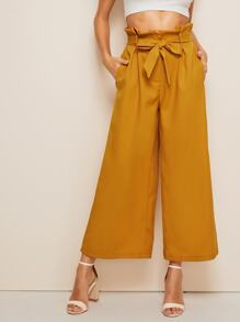 Paperbag Trouser Belted Wide Leg Pants